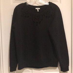 Joie Black Cherelle Laser-cut Sweatshirt; sz M